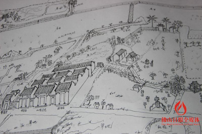 圆珠笔手绘两米多长村容地图