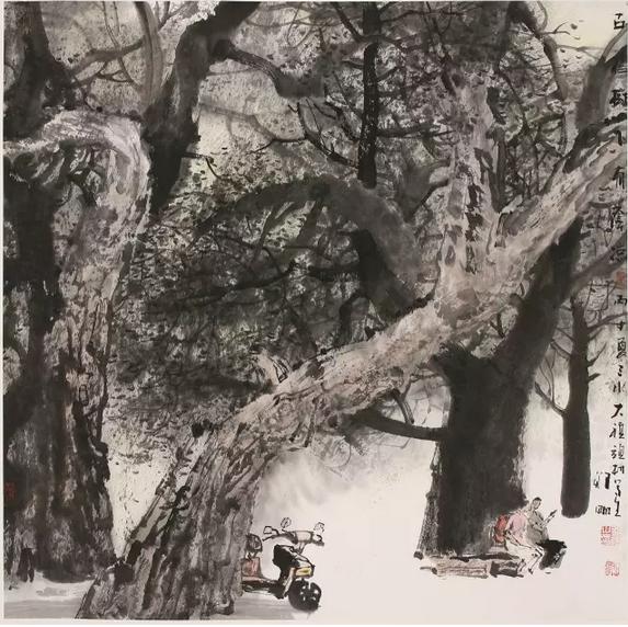 古榕树下有阴凉   国画   68x68  ok8a7163