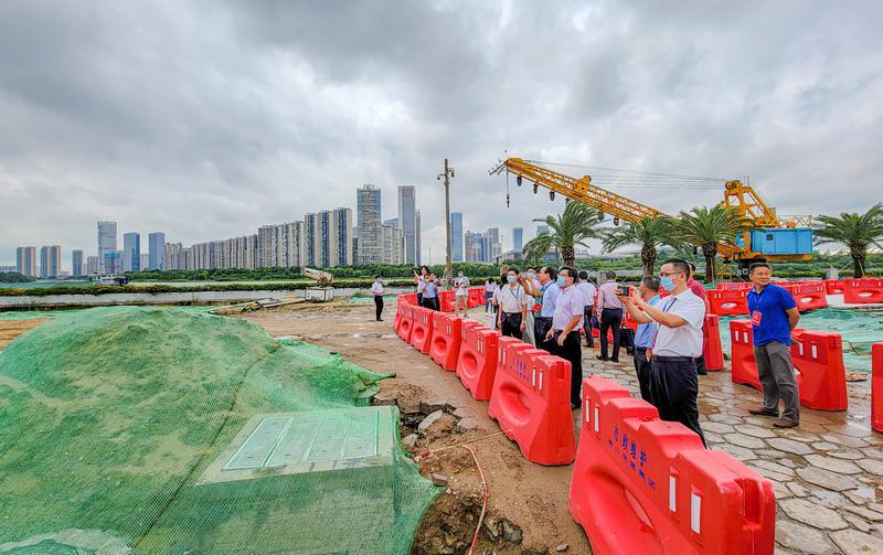 胡钛率队视察东平河滨水生态区整治和建设